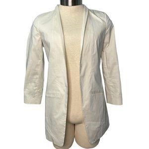 Eileen Fisher Cream Ramie Open Front Long Blazer Size 8 Italian Fabric Silk